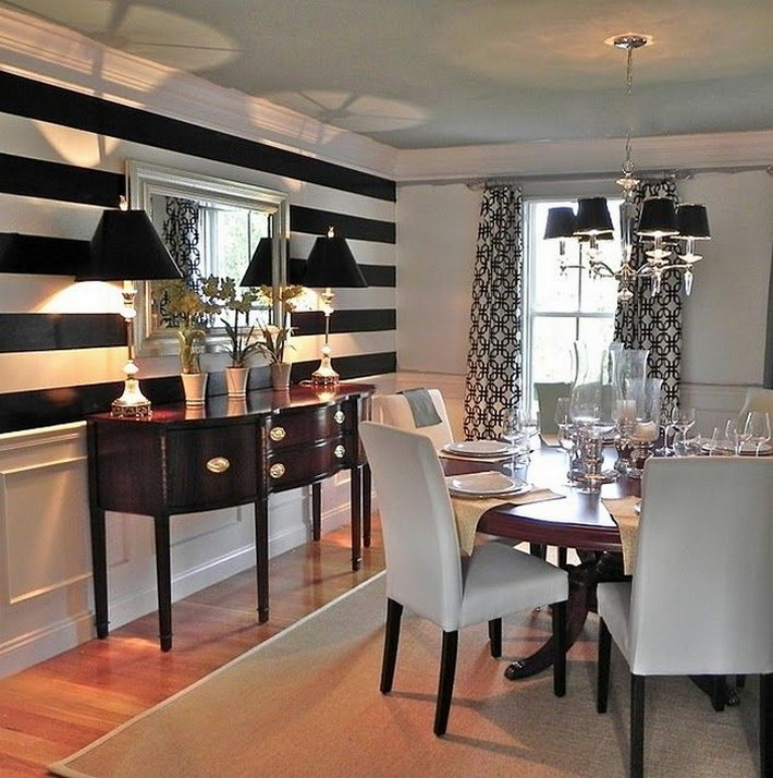 Luxury design news stylish dining room buffet ideas - Black and white striped wall ...