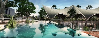 Bali Tennis Club With Rhythmic Roof Canopy by Alex Dornier