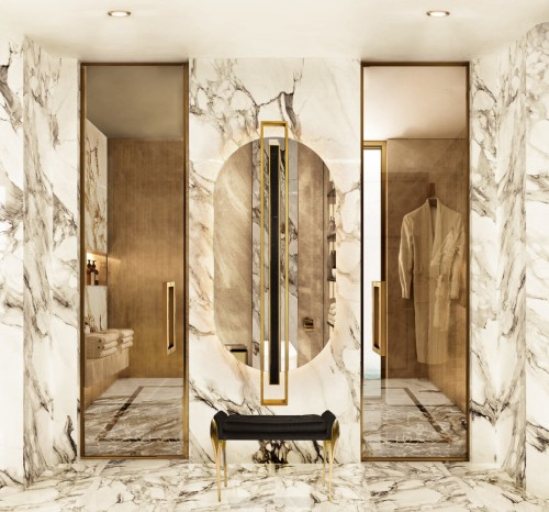 -majestic-and-elegant-master-bathroom-with-shield-oval-mirror-and-stiletto-stool