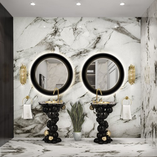 black-and-marble-main-bathroom-with-newton-freestanding-and-ring-mirror