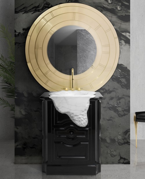 black-bathroom-design-with-petra-freestanding-and-glimmer-mirror