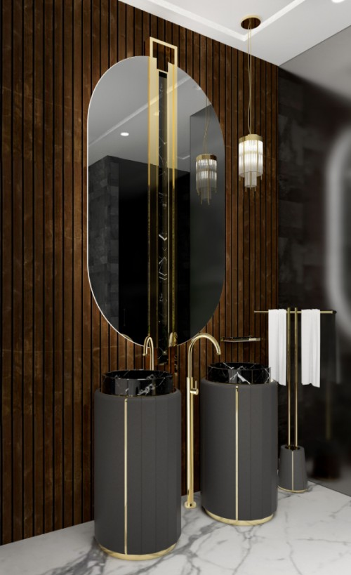 divine-wood-bathroom-with-shield-oval-mirror-and-black-darian-freestanding