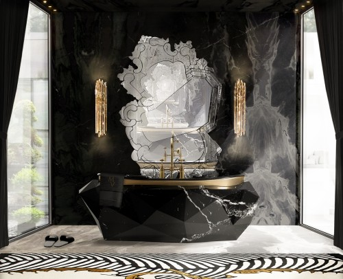 elegant-bathroom-with-diamond-bathtub-in-nero-marquina-faux-marble