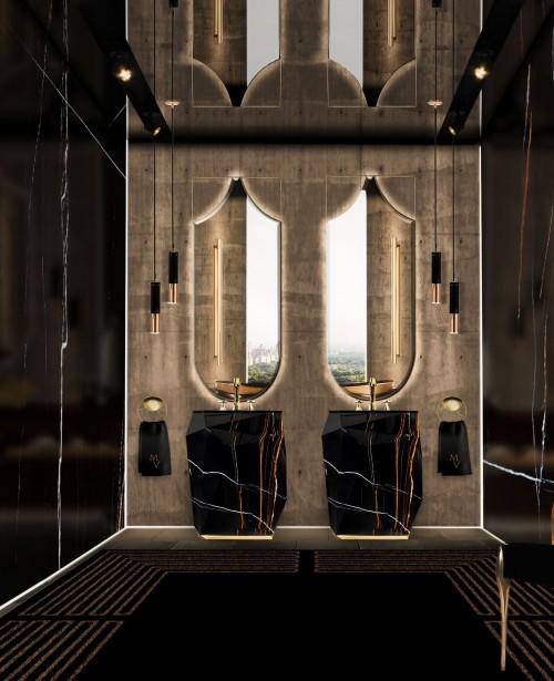glamorous-dark-master-bathroom-with-diamond-faux-marble-freestanding-and-koi-mirror