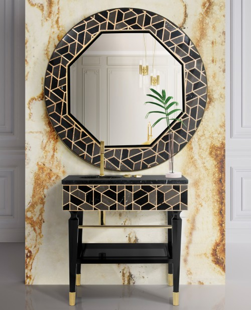 mix-and-match-bathroom:-tortoise-mirror-and-tortoise-freestanding