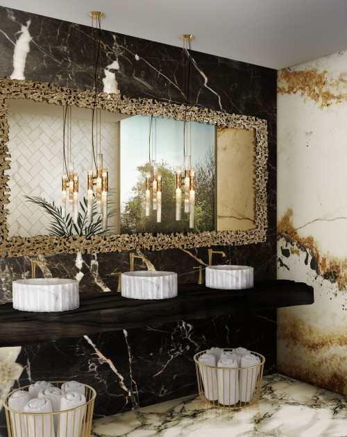remarkable-marble-bathroom-with-symphony-vessel-sink-and-waterfall-pendant-lamp