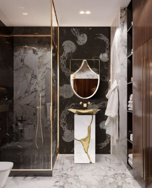 small-harmonious-bathroom-with-lapiaz-freestanding-and-koi-mirror