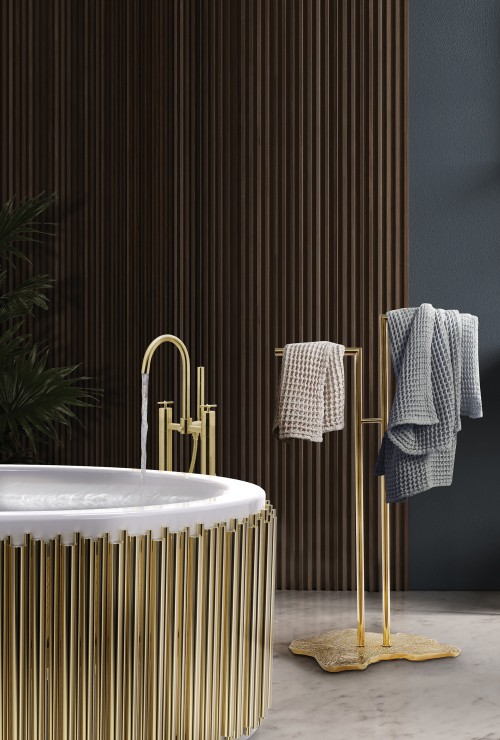 symphony-bathtub-and-eden-towel-rack-complement-a-bathroom-with-earthy-tones