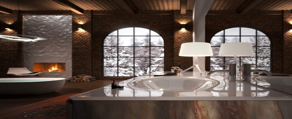 CLEAN BATHROOM WITH THE RIGHT SUSPENSION LIGHT mobile bagno