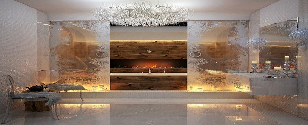 bathrooms with fireplaces Amazing Luxury Bathrooms with Fireplaces cover1