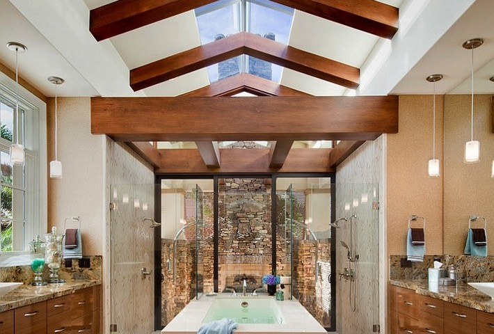Luxury Bathrooms with gorgeous skylights Exquisite bathroom with two showers1