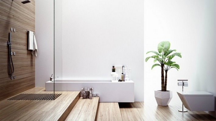 Luxury Bathrooms with Spa's Touch Modern bathroom with wood elements 700x5251