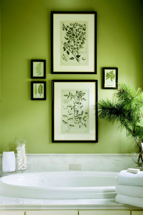 Inspiring Colorful Bathrooms Ideas Decorate your Bathroom with Greenery Pantone of the Year 2017 5