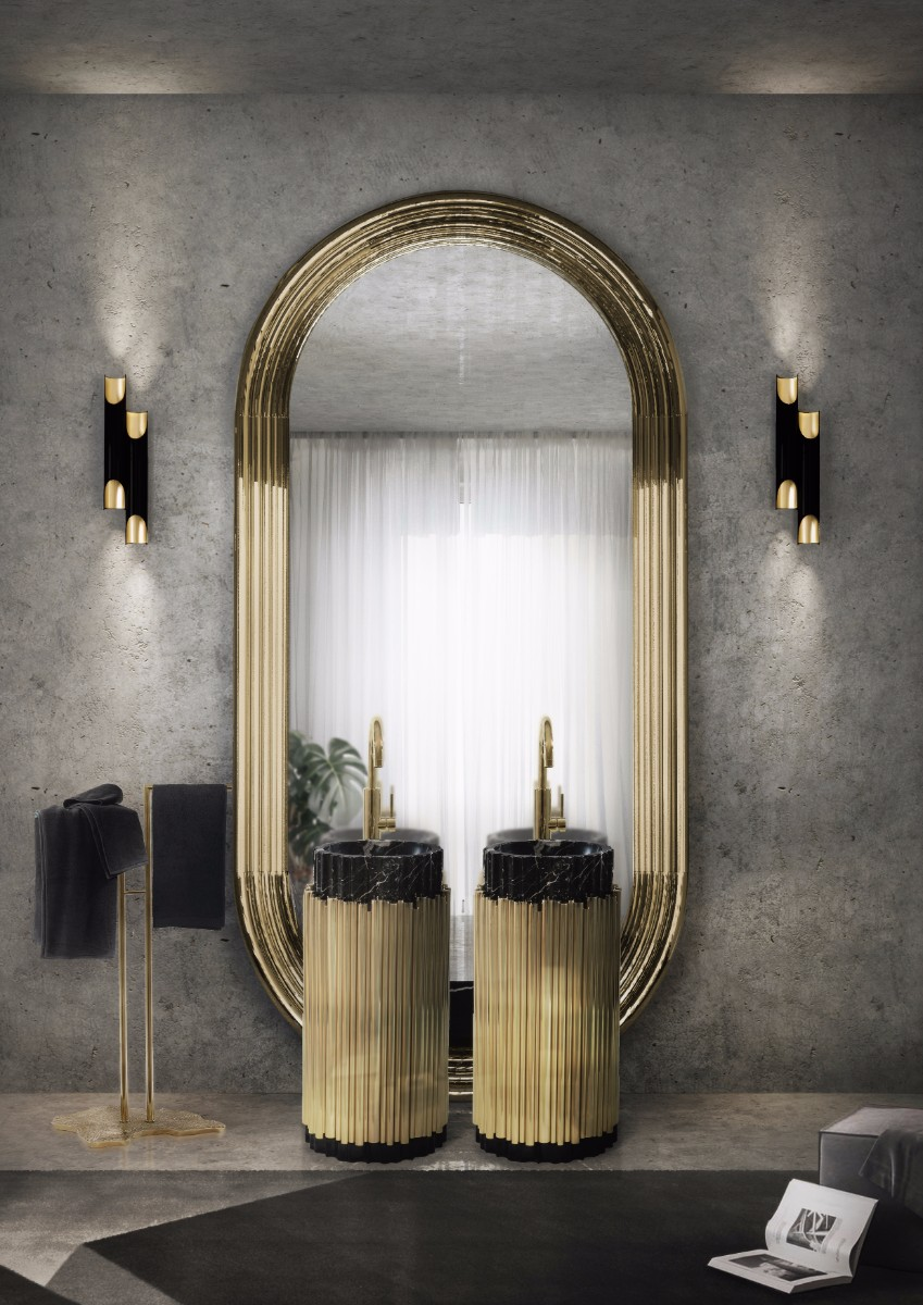 create a stunning bathroom with brass Create A Stunning Bathroom With Brass 16 symphony freestand eden towel rack maison valentina 11