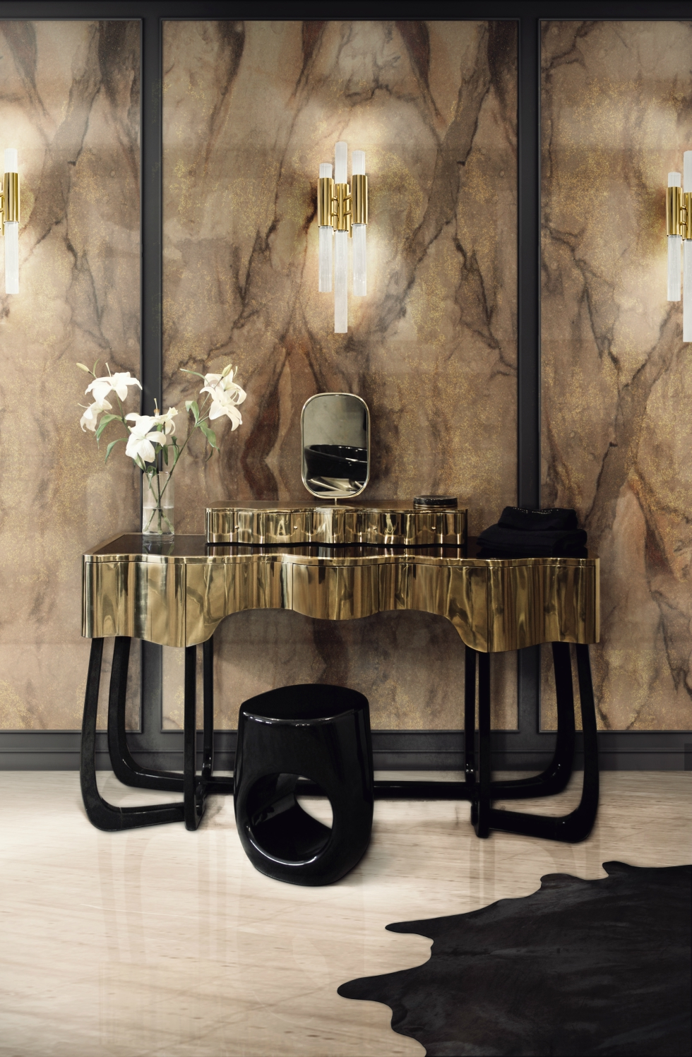 5 Small Bathroom Vanities for Your Chic Bathroom 28 sinuous dressing table bronze rust surface HR