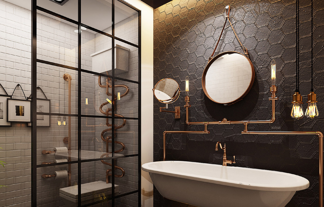Industrial Style Bathrooms You'll Love in Romantic Paris wqeq