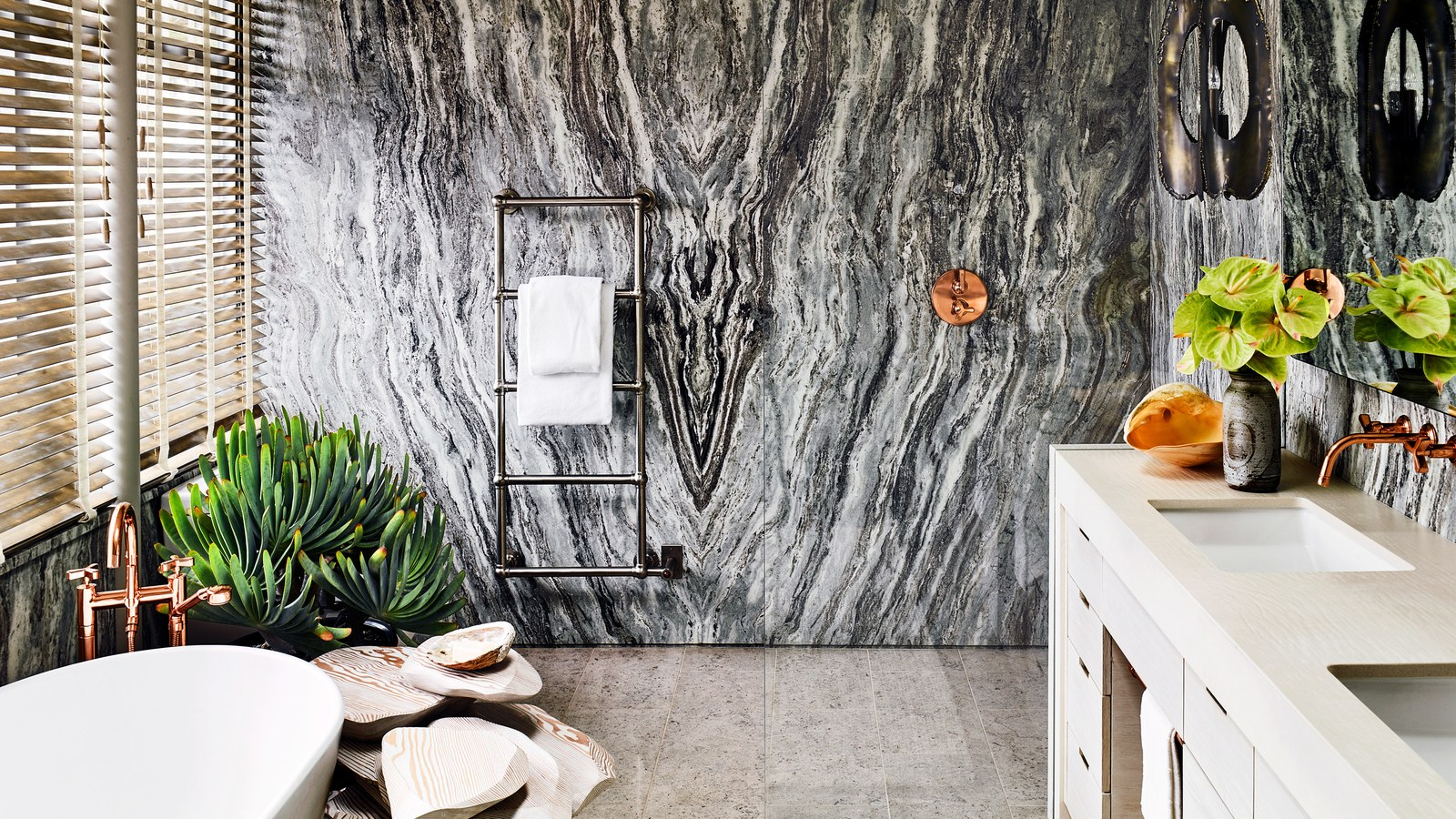 architectural digest Best of 2019: Great Bath Design Awards by Architectural Digest Great Design Awards Bookmatched quartzite wall panels in a California bath by Jamie Bush