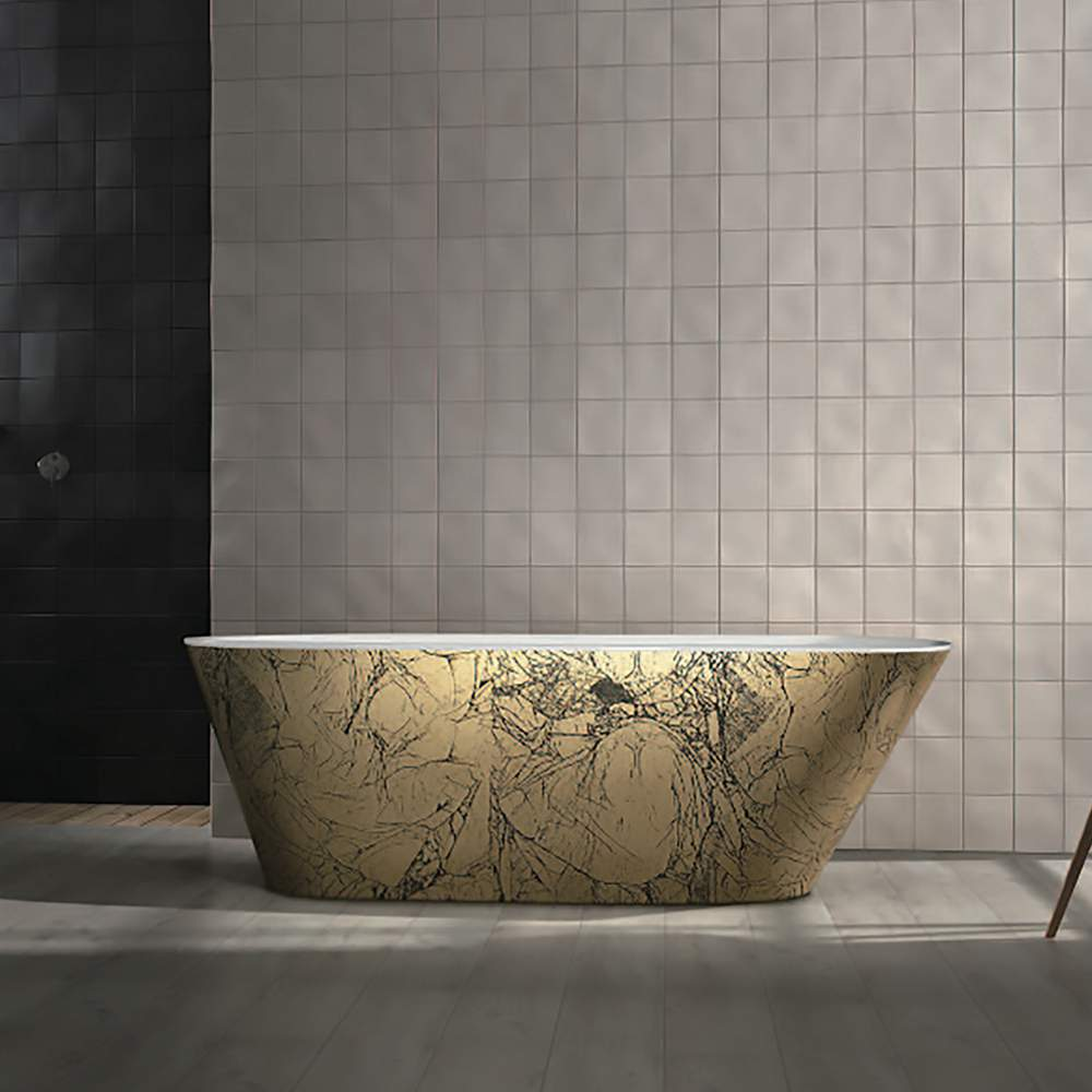 bathroom, golden bathroom, gold,maison valentina, bathub, mirror, rug, tap, bathroom decoration, bathroom decor bathroom design Add a Touch of Gold to Your Bathroom – 5 Ideas to Make it Shine 5 ideas to add a touch of gold to your bathroom  Maestro Bath freestanding bathtub black and gold 1
