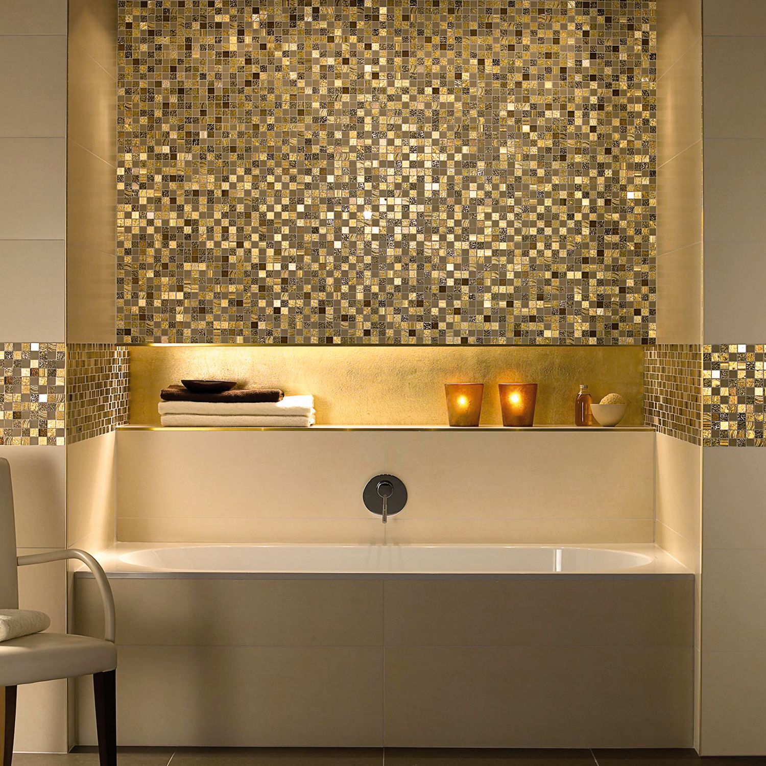 bathroom, golden bathroom, gold,maison valentina, bathub, mirror, rug, tap, bathroom decoration, bathroom decor bathroom 5 Ideas to Add a Touch of Gold to Your Bathroom 5 ideas to add a touch of gold to your bathroom  Schluter