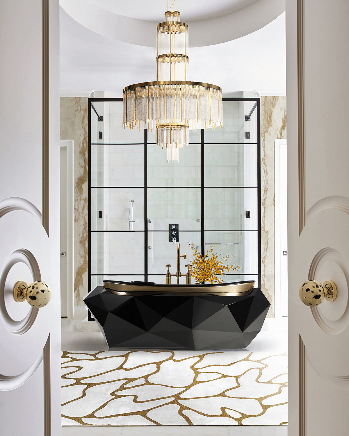 bathroom, golden bathroom, gold,maison valentina, bathub, mirror, rug, tap, bathroom decoration, bathroom decor bathroom design Add a Touch of Gold to Your Bathroom – 5 Ideas to Make it Shine 5 ideas to add a touch of gold to your bathroom 5