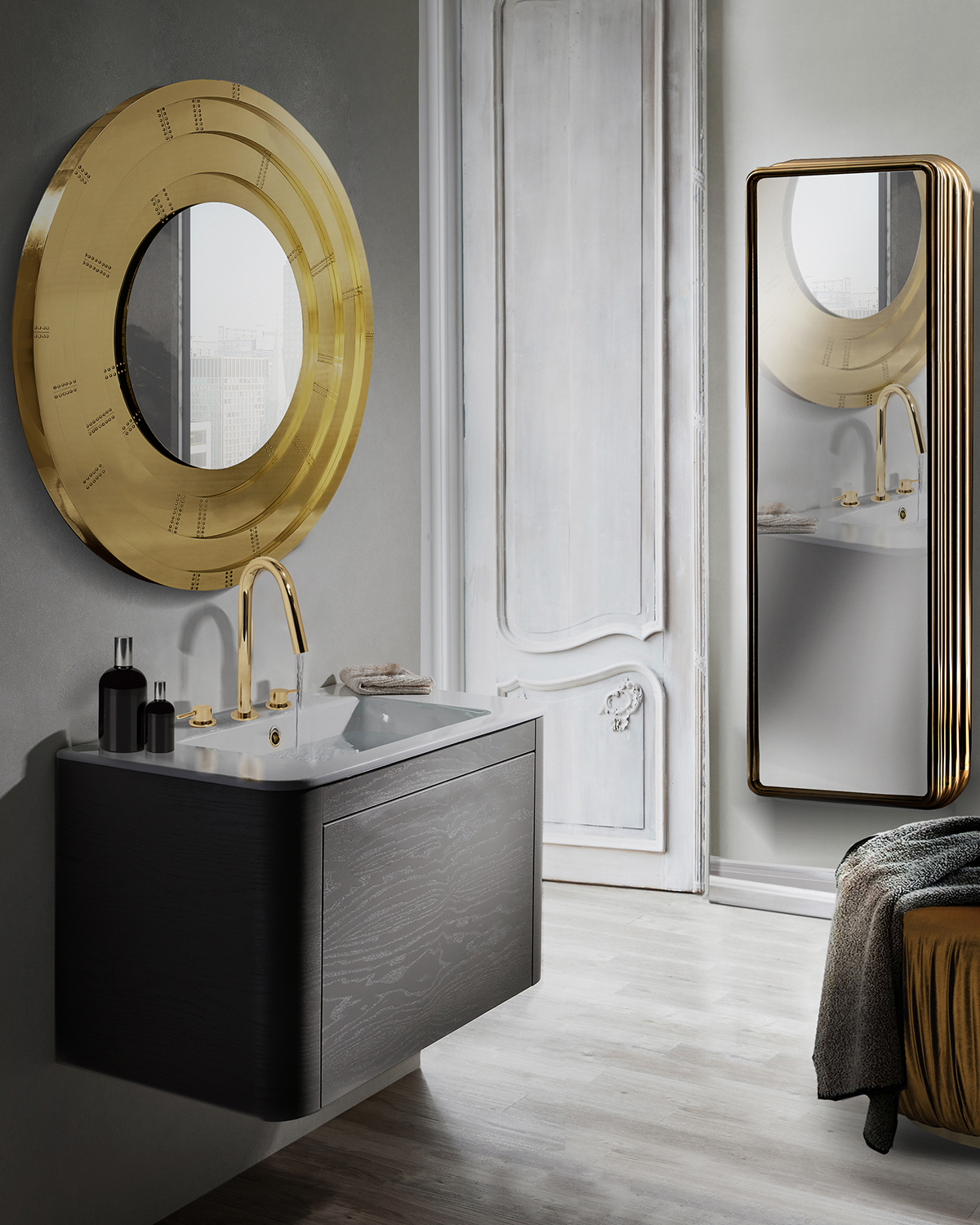 bathroom, golden bathroom, gold,maison valentina, bathub, mirror, rug, tap, bathroom decoration, bathroom decor bathroom design Add a Touch of Gold to Your Bathroom – 5 Ideas to Make it Shine 5 ideas to add a touch of gold to your bathroom 7