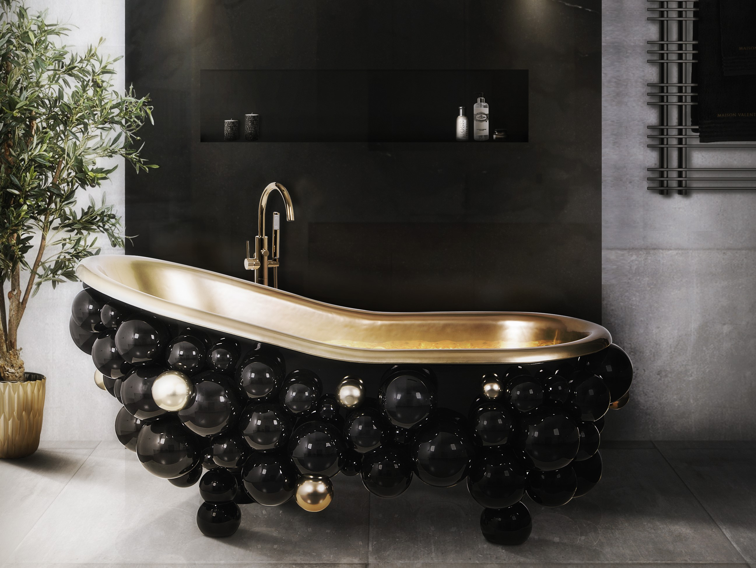 black bathroom ideas 5 Black Bathroom Ideas to Upgrade Your Home 14 newton bathtub saki pendant maison valentina 1 HR 2
