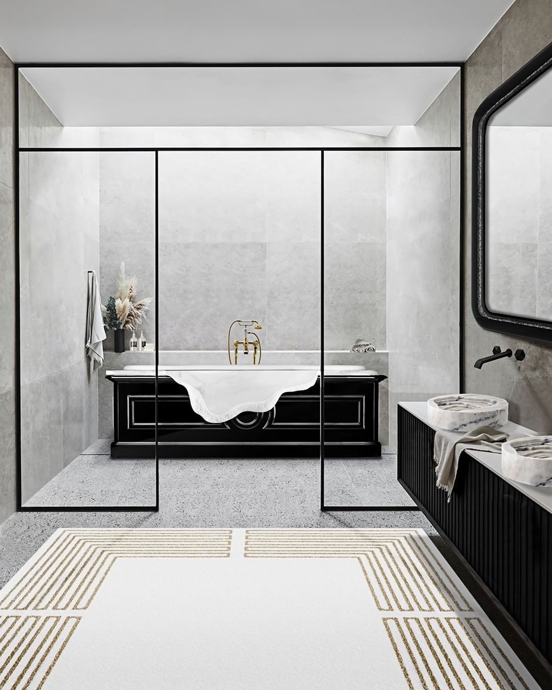 Summer trends, bathroom, bathroom design, bathtub, marble, maison valentina, interior design summer trends Have your Bathroom Ready For The Next Season: Summer Trends Report Inst image 1