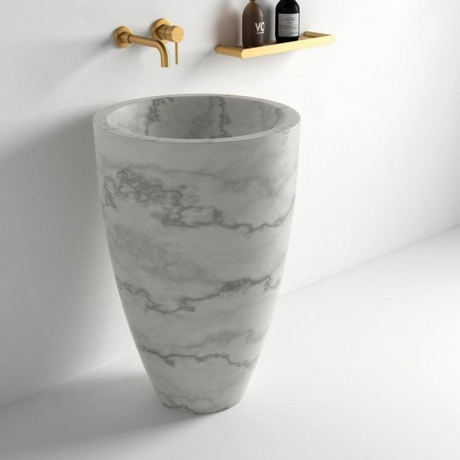 Freestanding Washbasin, marble, bathroom, small bathroom  Marble Freestanding Washbasins : The Glamour Your Bathroom Deserves lusso flori carrara marble freestanding basin 560 p741 10224 medium