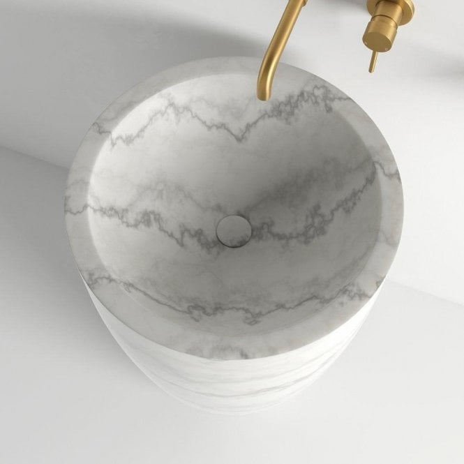 Freestanding Washbasin, marble, bathroom, small bathroom  Marble Freestanding Washbasins : The Glamour Your Bathroom Deserves lusso flori carrara marble freestanding basin 560 p741 10225 medium