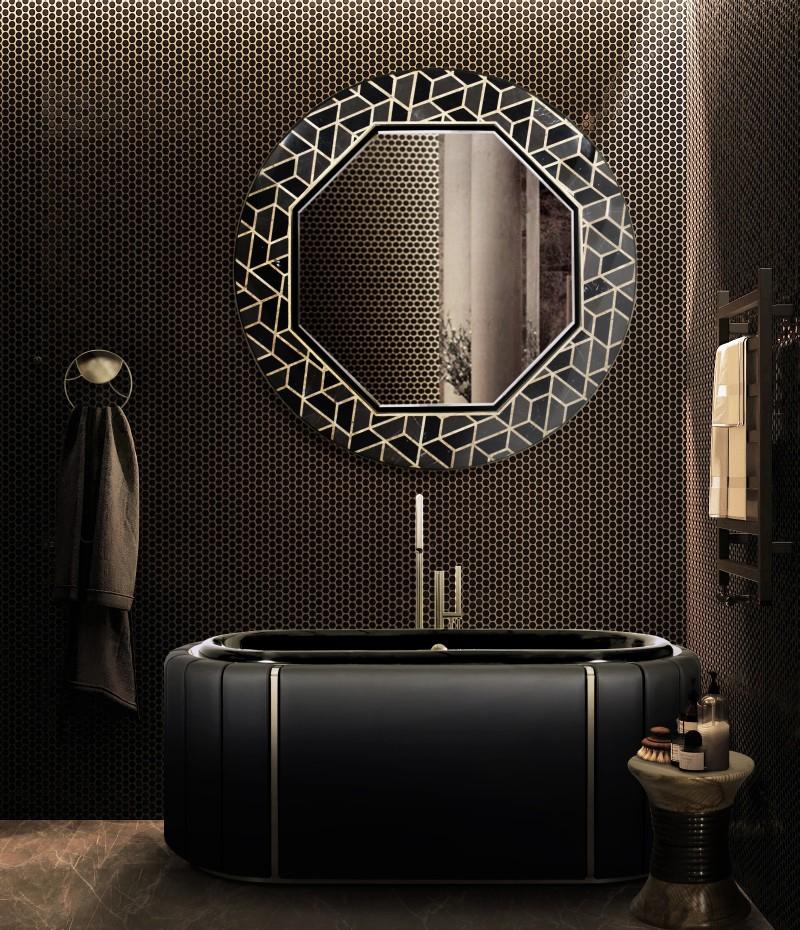 glamorous bathtubs 15 Most Glamorous Bathtubs to Have in 2021 dark bathroom with darian bathtub and tortoise mirror 1