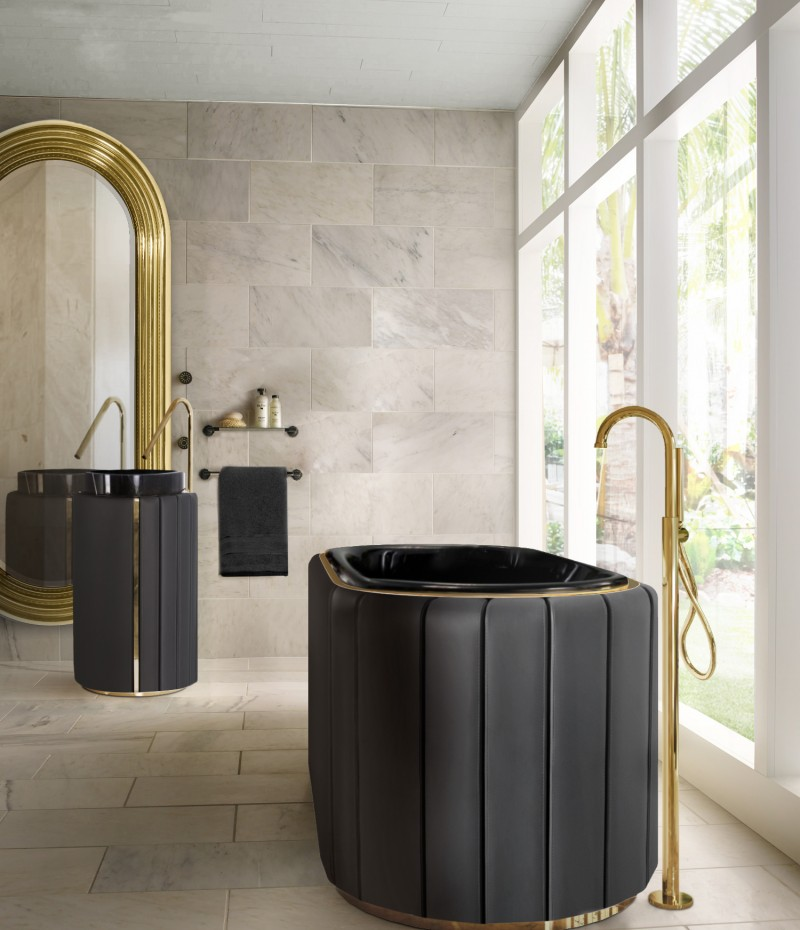 Bathroom Ideas To Fill You With Inspiration! bathroom Bathroom Ideas To Fill You With Inspiration! comfortable master bathroom with black darian bathtub and freestanding 1