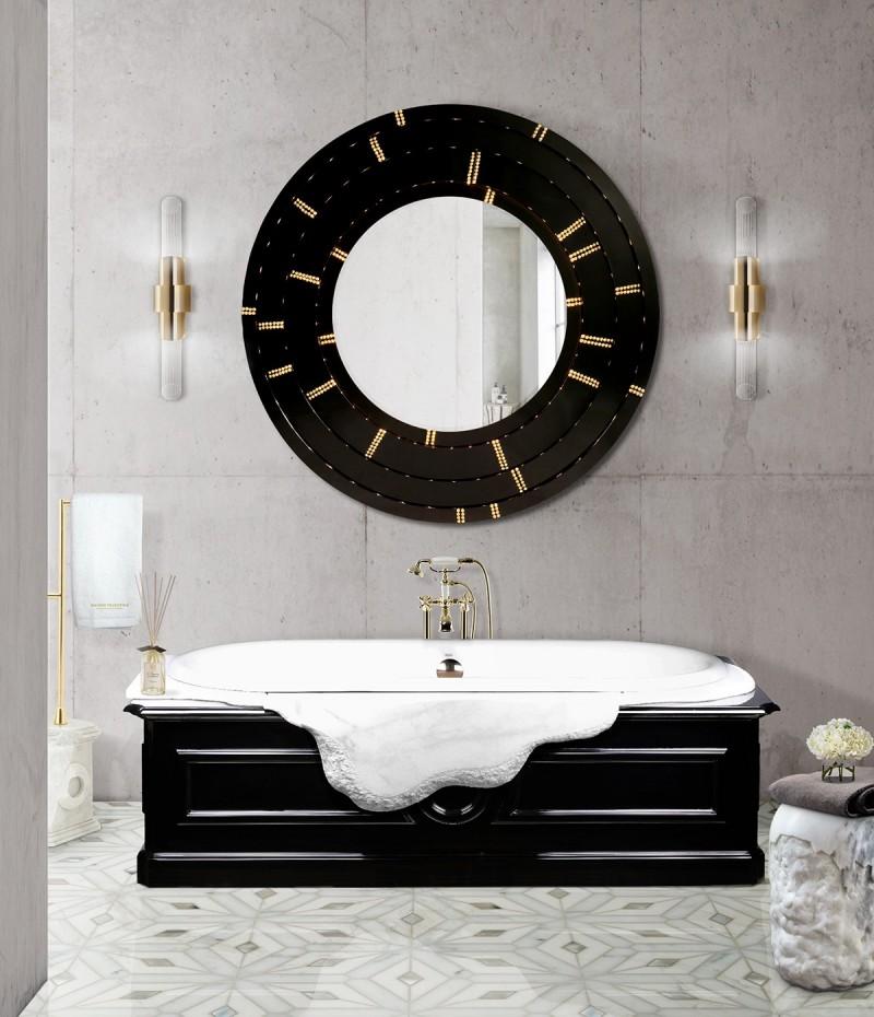 joy moyler interiors Joy Moyler Interiors: Bespoke Bathroom Designs Filled With Elegance black and white bathroom decor with blaze mirror and petra bathtub 1 1