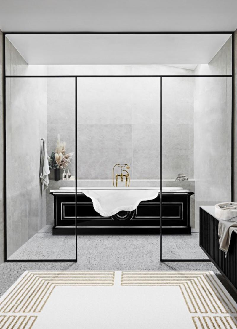 isabella hamann Modern classic bathrooms ideas with Isabella Hamann minimal bathroom with petra bathtub and duorum vessel sink 1 1