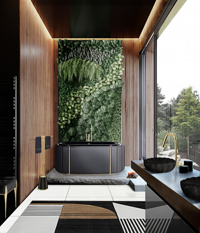 The Most Amazing Bathroom Ideas from Word Of Mouth word of mouth The Most Amazing Bathroom Ideas from Word Of Mouth nature inspired bathroom design with darian bathtub and antelope rug
