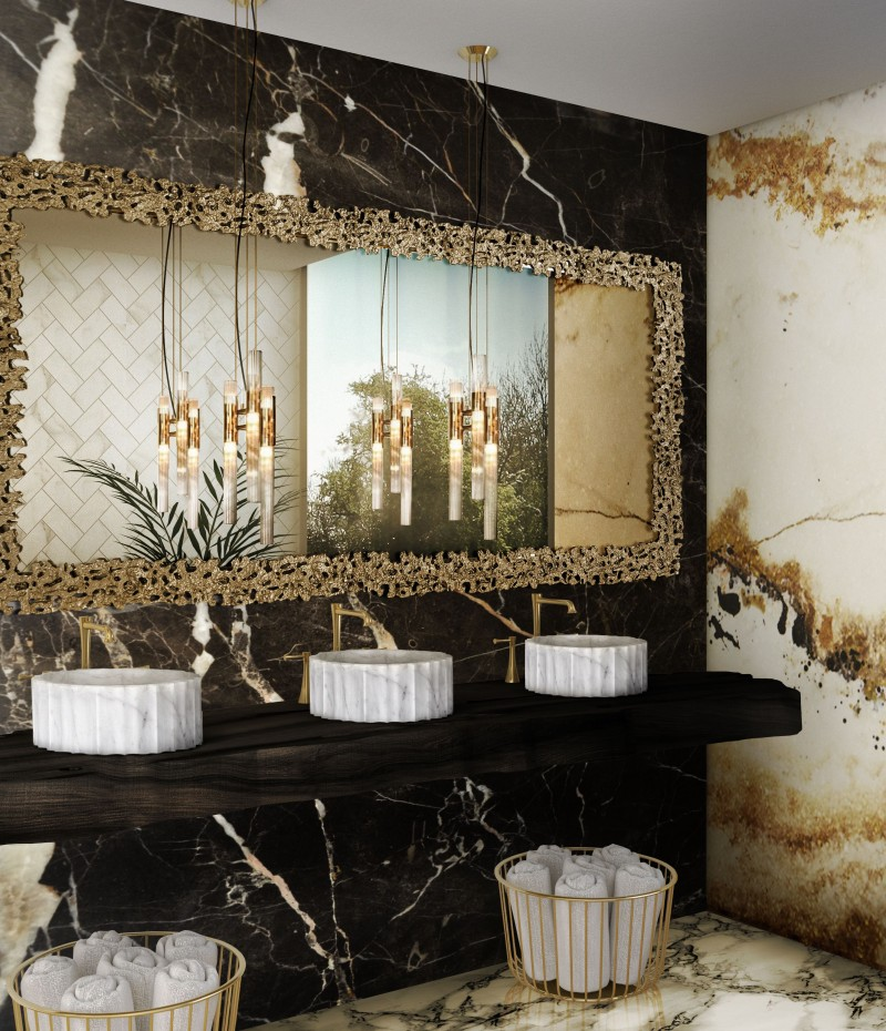 joy moyler interiors Joy Moyler Interiors: Bespoke Bathroom Designs Filled With Elegance remarkable marble bathroom with symphony vessel sink and waterfall pendant lamp 1