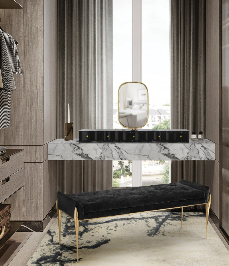 Amie Weitzman Design - One of New York's Finest amie weitzman design Amie Weitzman Design – One of New York's Finest stiletto bench is the perfect piece for a dashing dressing room 1