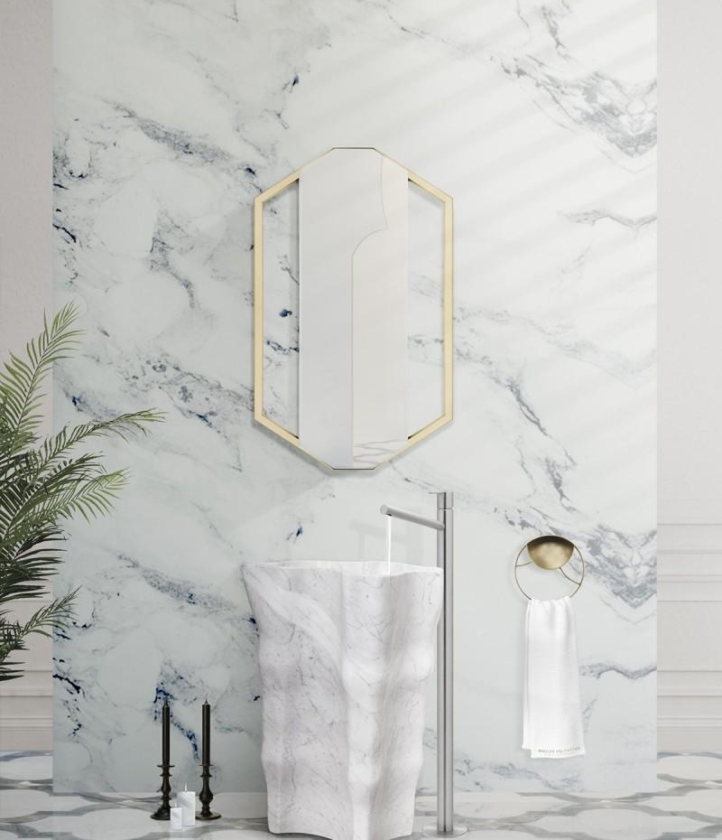 White Bathroom Ideas: Intense Designs To Inspire Your Bathroom Decor bathroom ideas White Bathroom Ideas: Intense Designs To Inspire Your Bathroom Decor eden stone freestanding blends with sapphire mirror 1