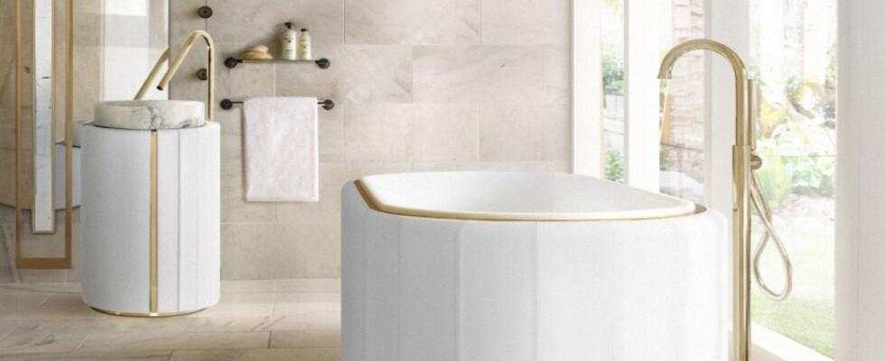 bathroom ideas White Bathroom Ideas: Intense Designs To Inspire Your Bathroom Decor sophisticated bathroom with white darian bathrtub and darian frestanding 1 1 1