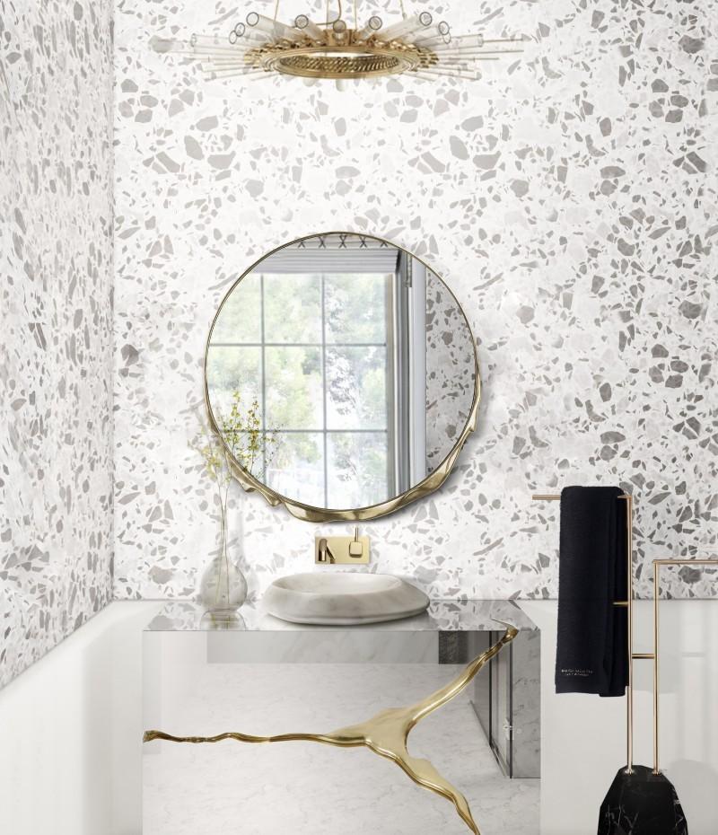 White Bathroom Ideas: Intense Designs To Inspire Your Bathroom Decor bathroom ideas White Bathroom Ideas: Intense Designs To Inspire Your Bathroom Decor terrazzo bathroom with lapiaz cabinet 1