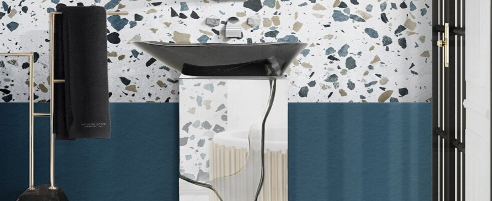 trends Trends Report: Autumn Winter Colors From NYC and London's Fashion Week bathroom with blue hues and terrazzo inspiration 1 1