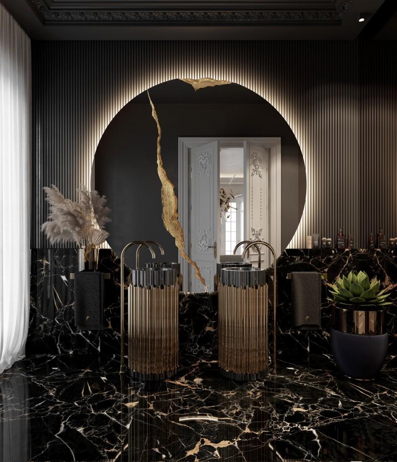 Black Marble Designs: Get A Luxury Bathroom black marble designs Black Marble Designs: Get A Luxury Bathroom black stunnig guest bathroom with symphony freestanding in double 1