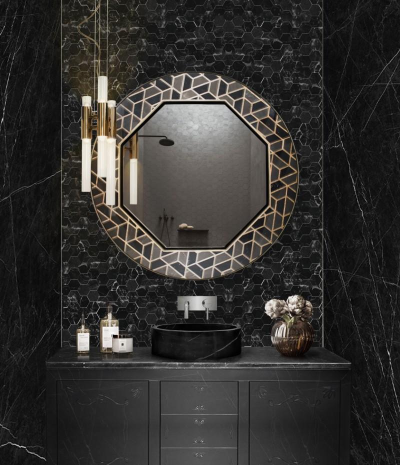 Black Marble Designs: Get A Luxury Bathroom black marble designs Black Marble Designs: Get A Luxury Bathroom chic urban bathroom with metropolitan washbasin and tortoise mirror 1 1