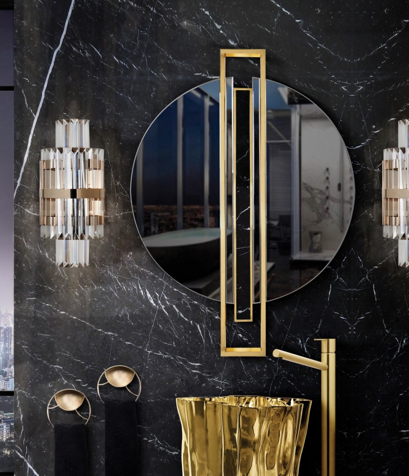 Black Marble Designs: Get A Luxury Bathroom black marble designs Black Marble Designs: Get A Luxury Bathroom shield mirror takes central stage on dark guest bathroom 1 2