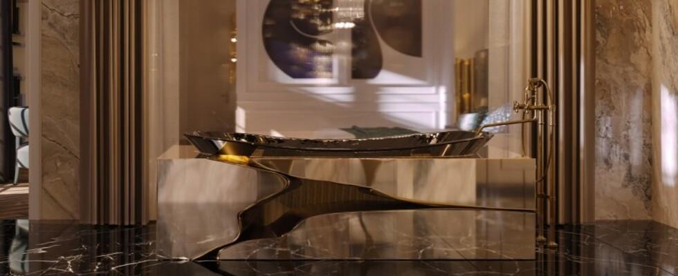 lapiaz Incredible Bathroom Designs To Admire: the LAPIAZ Collection spa inspired suite bathroom with lapiaz bathtub 1 1