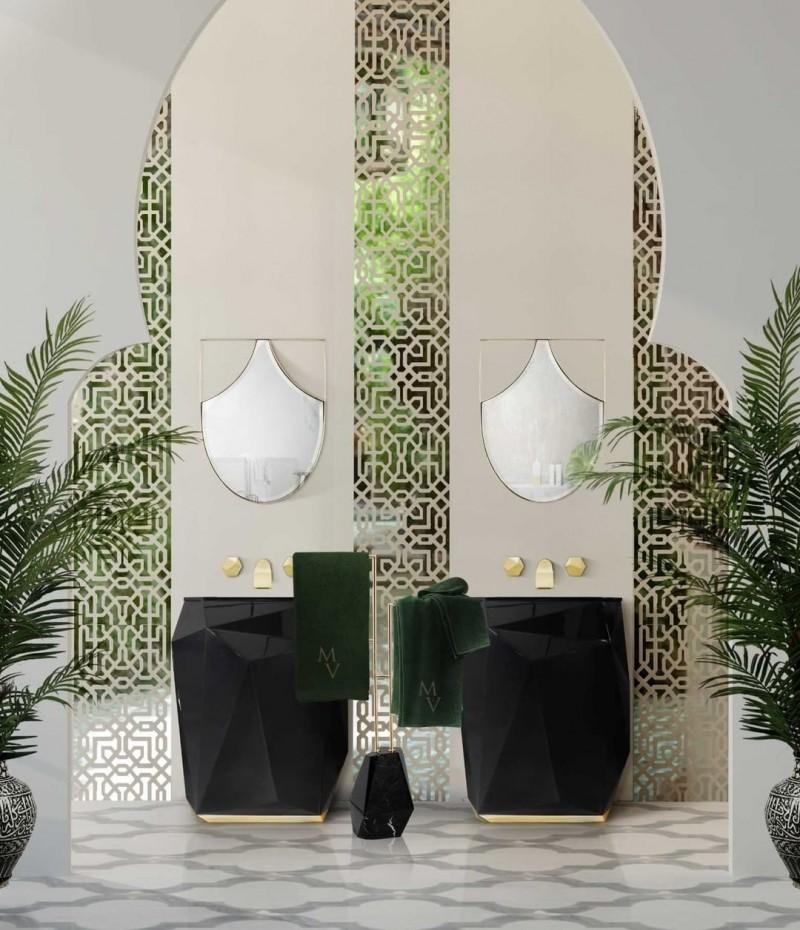 Green Bathroom Designs For Blissful Interiors Green Bathroom Designs Green Bathroom Designs For Blissful Interiors kig bathroom with diamond freestanding and diamond towel rack 1