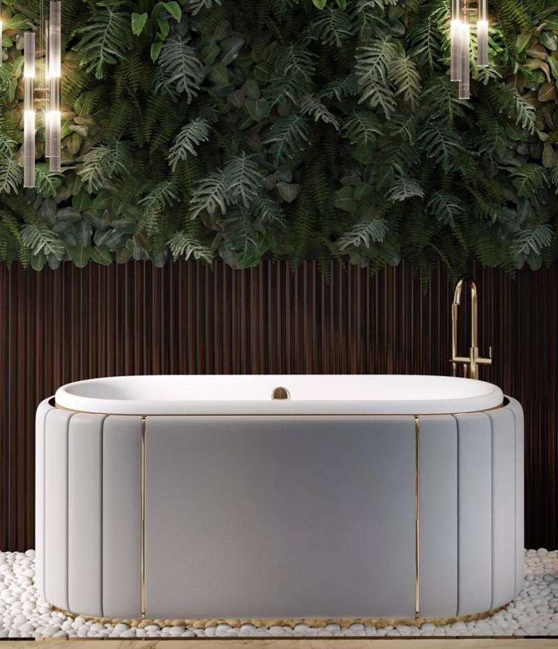 Green Bathroom Designs For Blissful Interiors Green Bathroom Designs Green Bathroom Designs For Blissful Interiors twist of nature with white darian bathtub 1