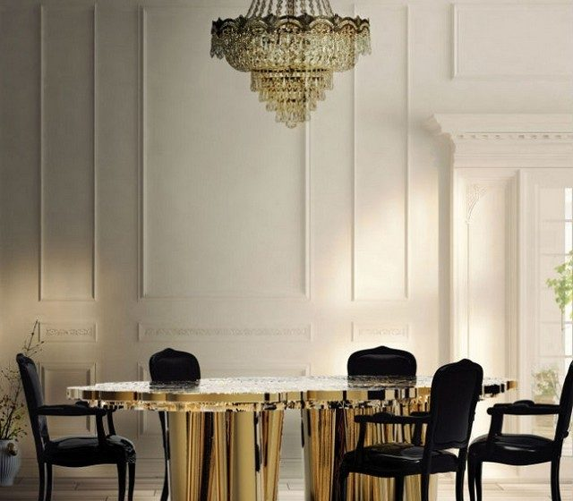 6 modern dining room tables in brass  6 modern dining room tables in brass 6 ELEGANT DINING ROOM TABLES IN BRASS Boca do lobo 640x560