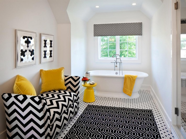 Be inspired with this amazing bathroom pattern floors Wonderful black and white bathroom decor with unique pattern flooring also modern tub with wallpaper arts with zigzag pillows