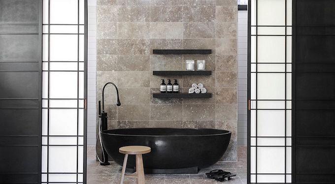 Dark Indulgence: Black Bathtubs dark indulgence black bathtubs Black bathtub becomes the focal point of the contemporary bathroom