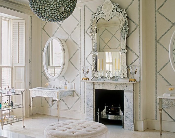 Victorian Style Bathroom Design Ideas round tufted ottoman Bathroom Victorian 710x560